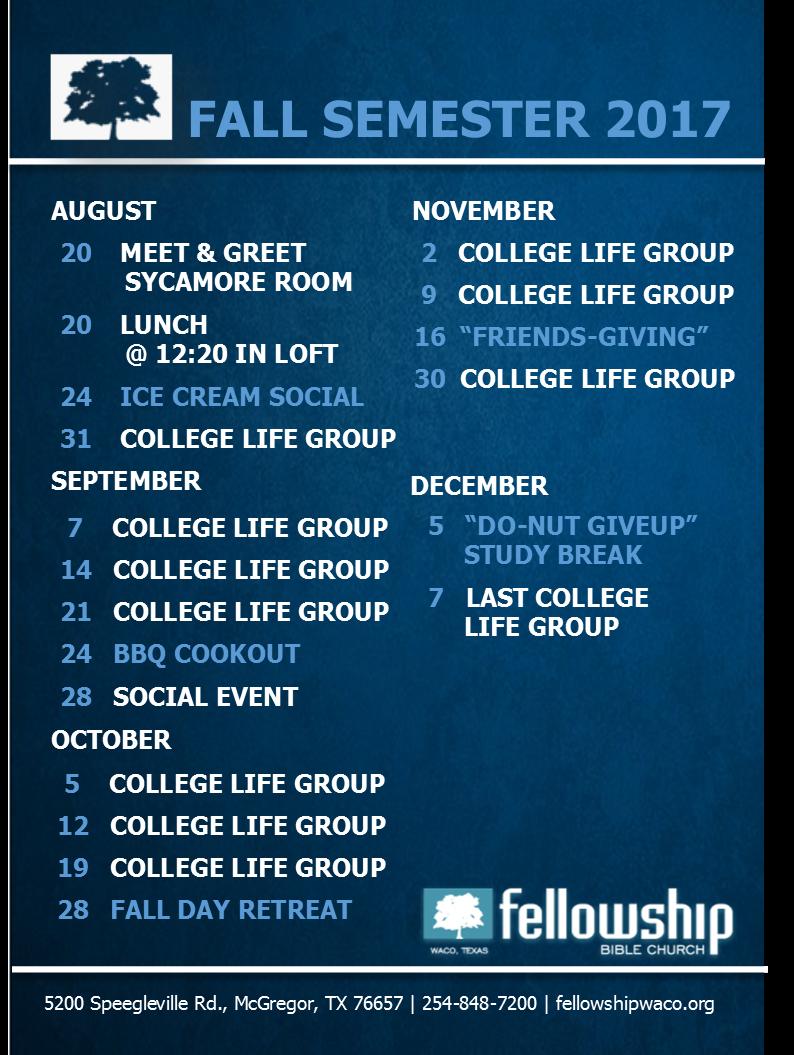 College Calendar Fall 2017